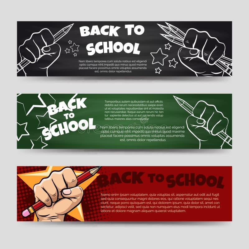 De volta às bandeiras horizontais da escola ilustração royalty free