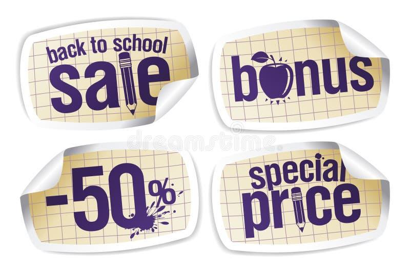 De volta às etiquetas da venda da escola. ilustração royalty free