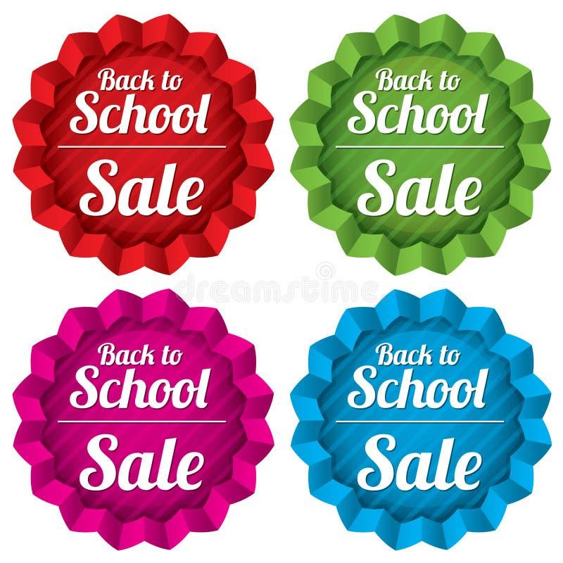 De volta às etiquetas da venda da escola. Etiquetas da oferta especial. ilustração stock