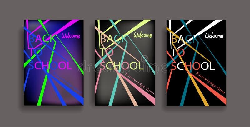 De volta às páginas da informação da escola ajustadas Molde da educação do inseto, compartimentos, cartazes, capa do livro, bande ilustração do vetor