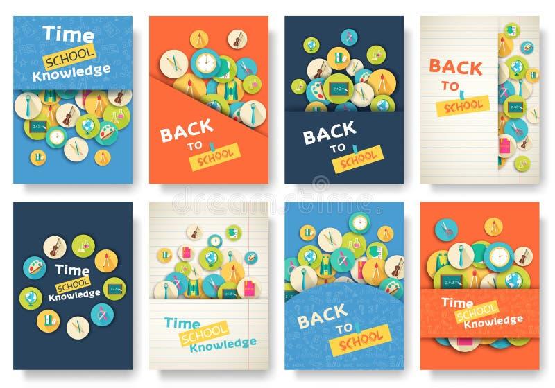 De volta às páginas da informação da escola ajustadas Molde de flyear, compartimentos da educação, cartazes, capa do livro, bande ilustração do vetor