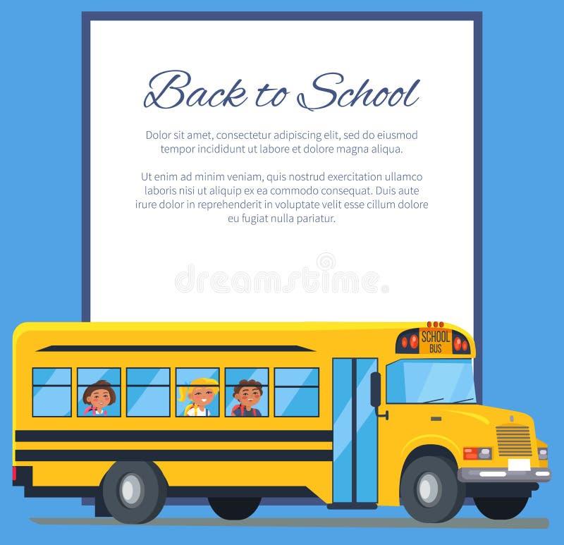 De volta ao cartaz da escola com ônibus escolar e crianças ilustração do vetor
