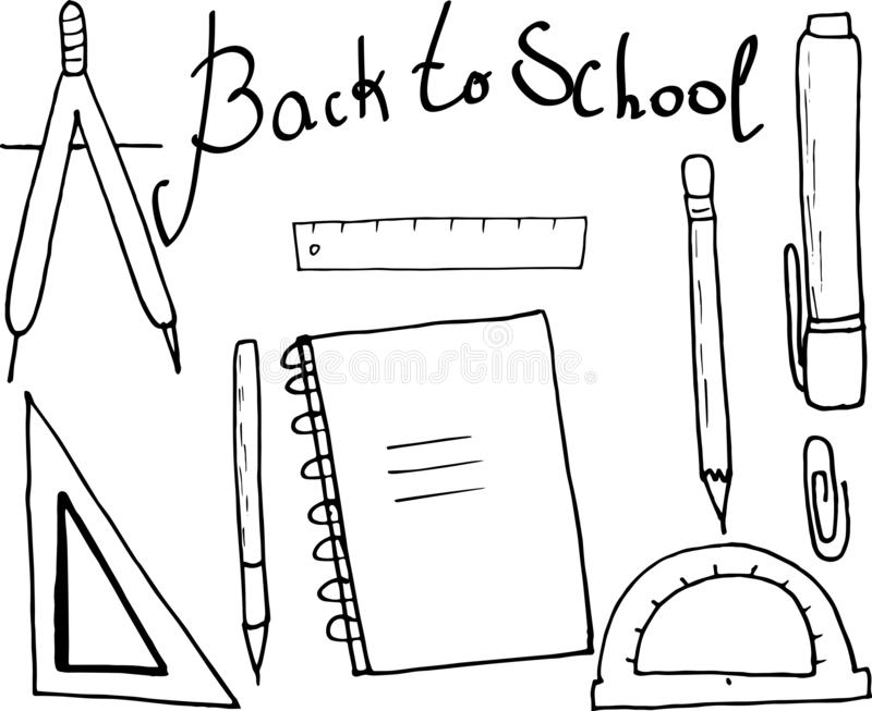 De volta ao cartaz da escola nos materiais de escritório - réguas, lápis, marcador, compassos e caderno Ilustra??o do vetor do Do fotos de stock