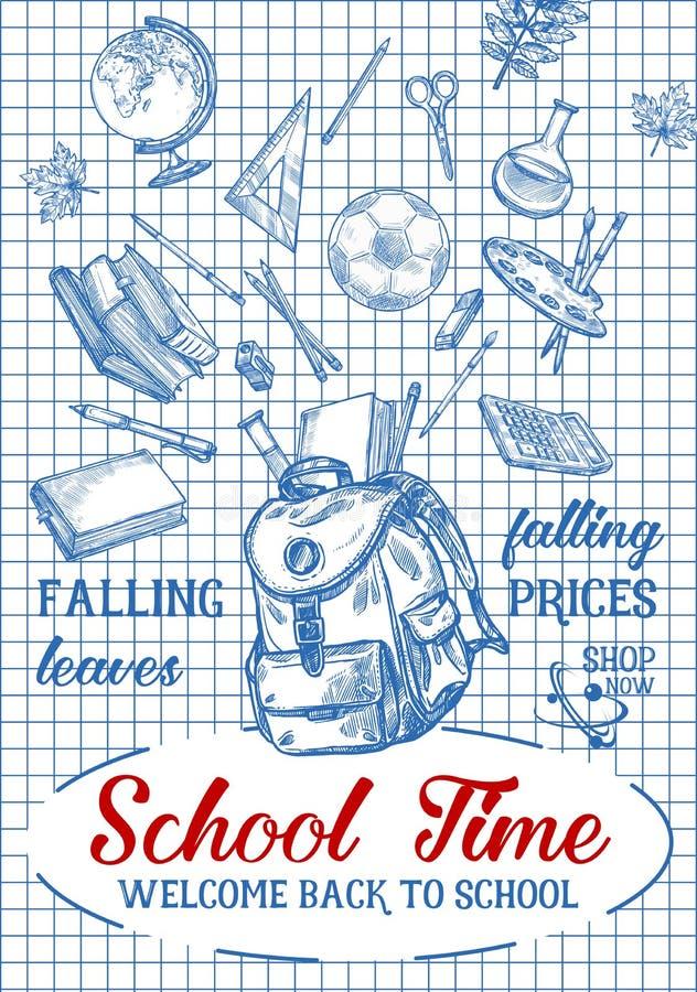 De volta ao cartaz dos artigos de papelaria do esboço do vetor da escola ilustração royalty free