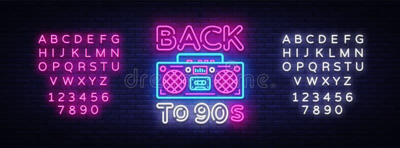 De volta ao cartaz 90s, ao cartão ou ao convite de néon, molde do projeto Sinal de néon do gravador retro, bandeira clara De volt ilustração royalty free