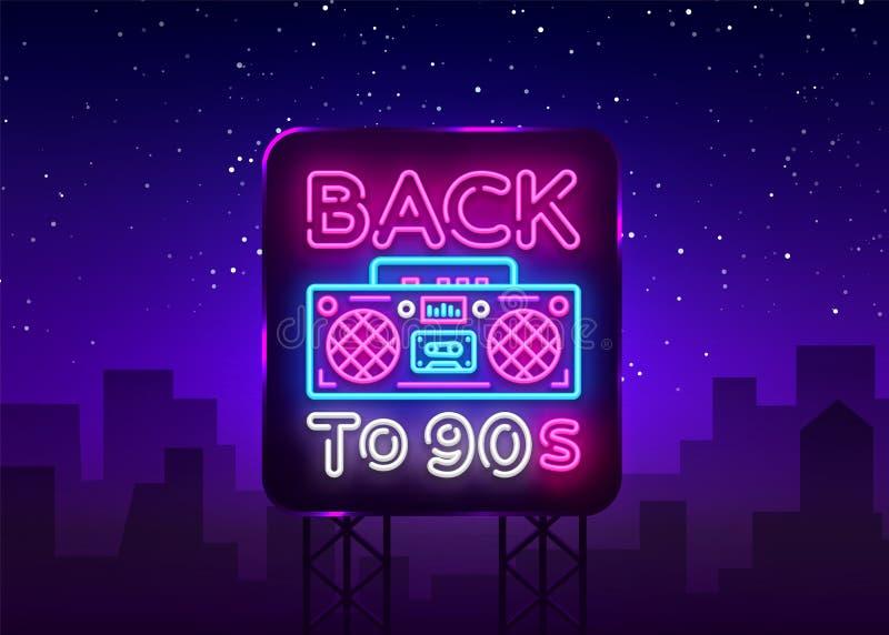 De volta ao cartaz 90s, ao cartão ou ao convite de néon, molde do projeto Sinal de néon do gravador retro, bandeira clara De volt ilustração stock