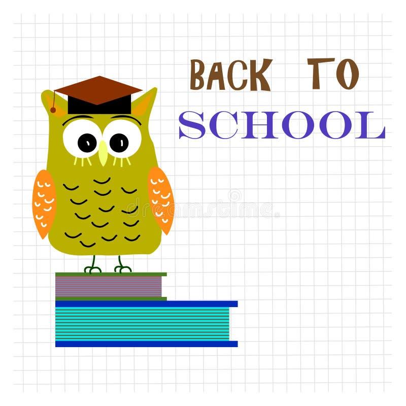 De volta ao clipart da escola com texto da rotulação Coruja bonito sábia na BO ilustração royalty free