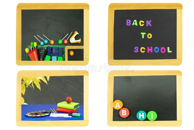 De volta ao conceito da escola A colagem ajustou-se de quatro quadros-negros da escola com fontes de escola, letras coloridas, lá imagem de stock