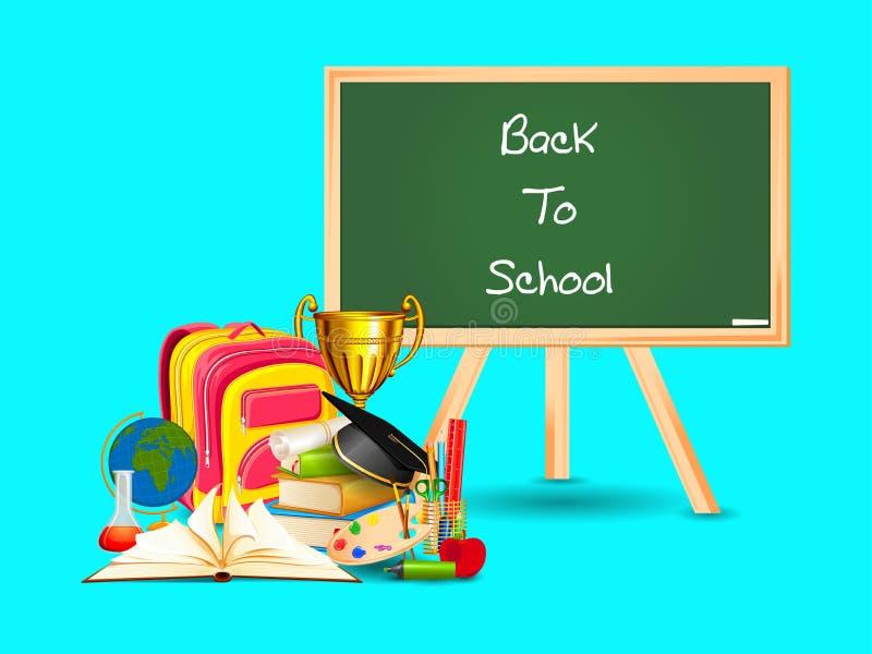 De volta ao conceito da escola com livro da educação ilustração royalty free