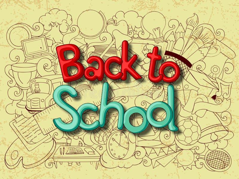 De volta ao conceito da escola com livro da educação ilustração stock
