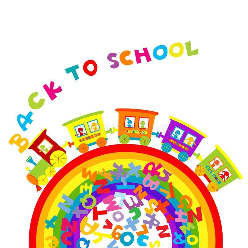 De volta ao conceito da escola com o trem dos desenhos animados no arco-íris e colorido ilustração stock