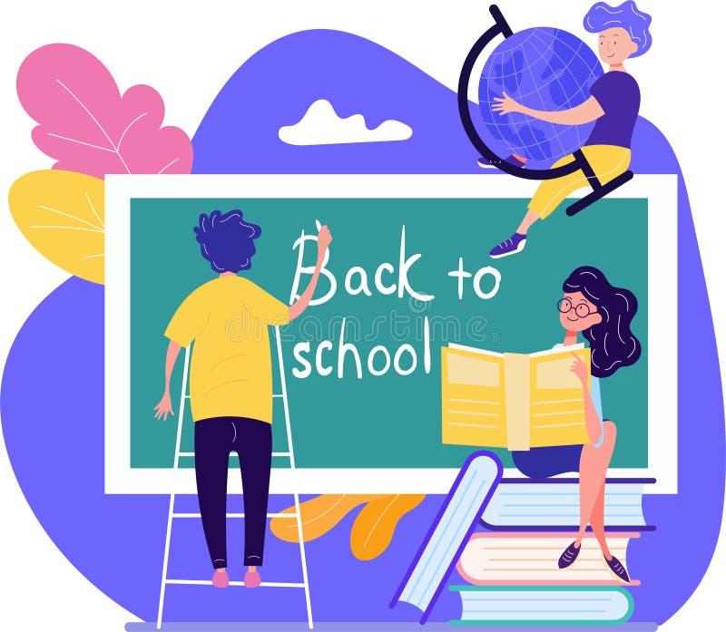 De volta ao conceito da escola com os três estudantes novos que escrevem o texto ilustração stock