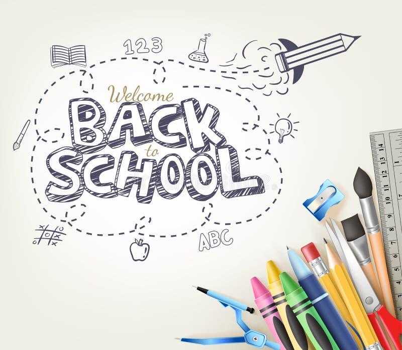 De volta ao conceito da garatuja da escola no fundo branco com artigos da escola ilustração royalty free