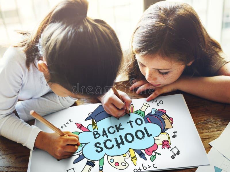 De volta ao conceito do estudo de Academiccs da educação escolar imagem de stock royalty free