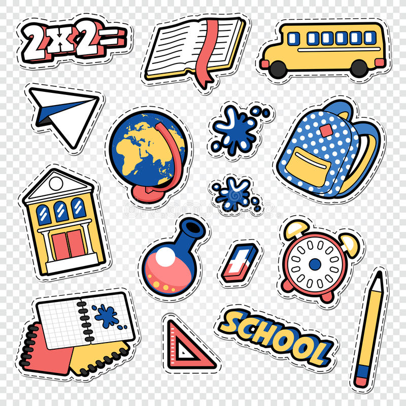 De volta ao Doodle da escola Etiquetas, remendos e crachás educacionais com livro, pena e globo ilustração do vetor