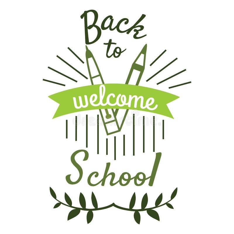 De volta ao elemento do logotipo da escola em cores verdes com ilustração do vetor do lápis da pena da fita Conceito novo do ano  ilustração do vetor
