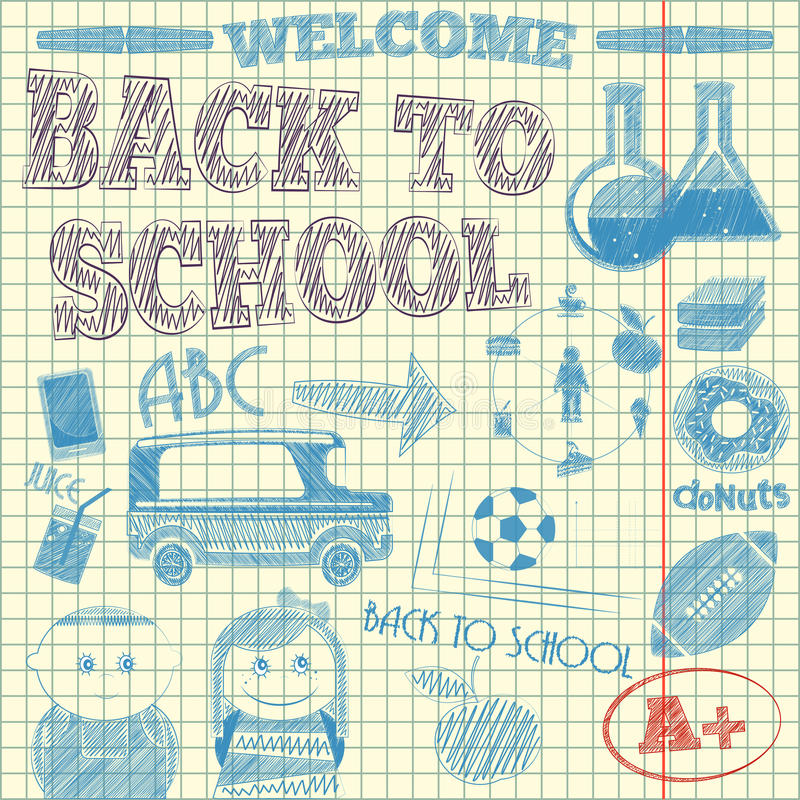De volta ao esboço da escola ilustração do vetor