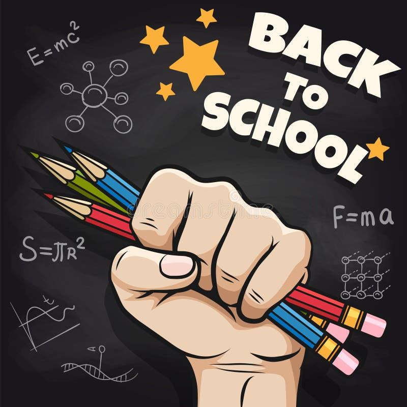 De volta ao esboço da escola no quadro-negro ilustração stock