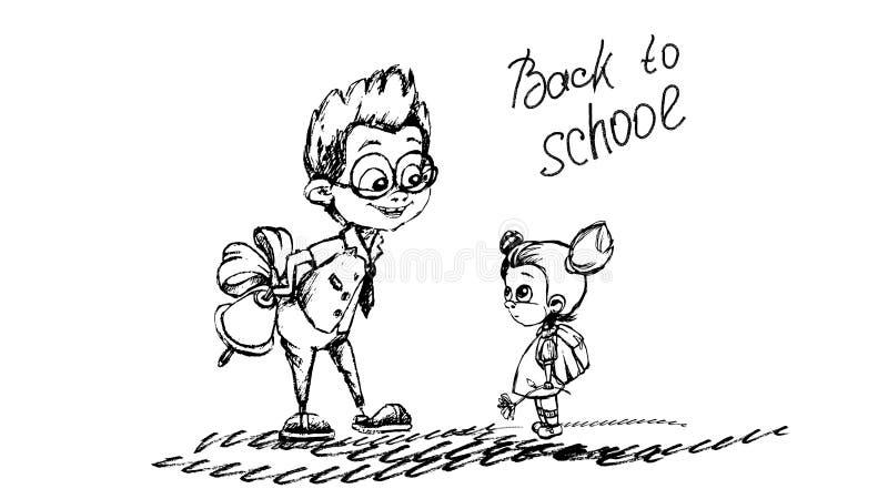 De volta ao esboço do lápis da escola no vetor ilustração do vetor
