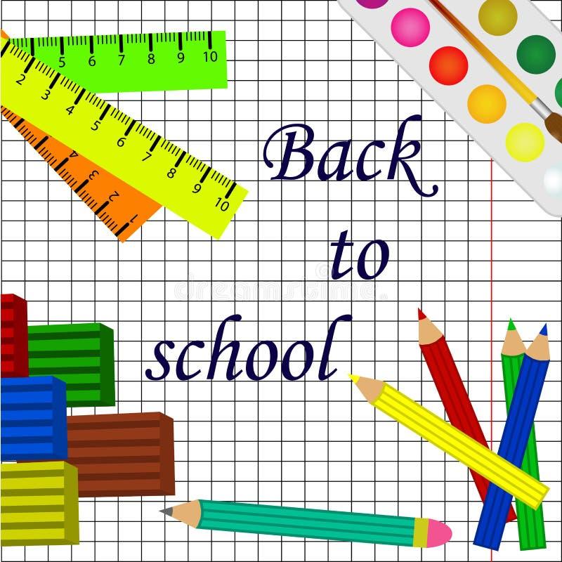 De volta ao fundo branco da escola com lápis e ferramentas da escola ilustração royalty free