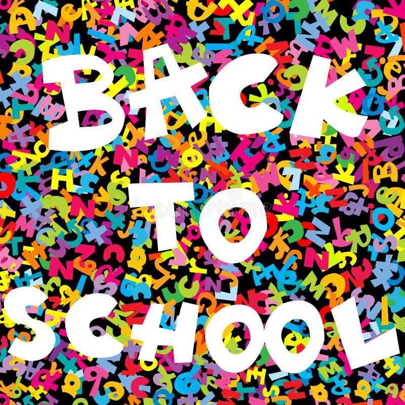 De volta ao fundo da escola com letras coloridas ilustração royalty free