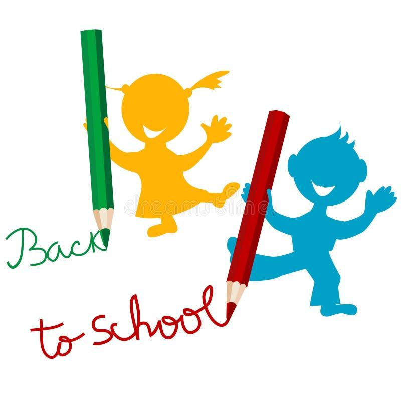 De volta ao fundo da escola com miúdos ilustração do vetor