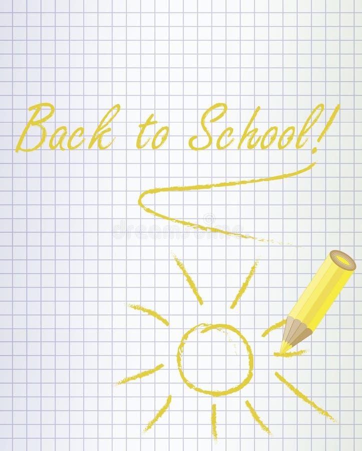 De volta ao fundo da escola com um lápis amarelo ilustração stock