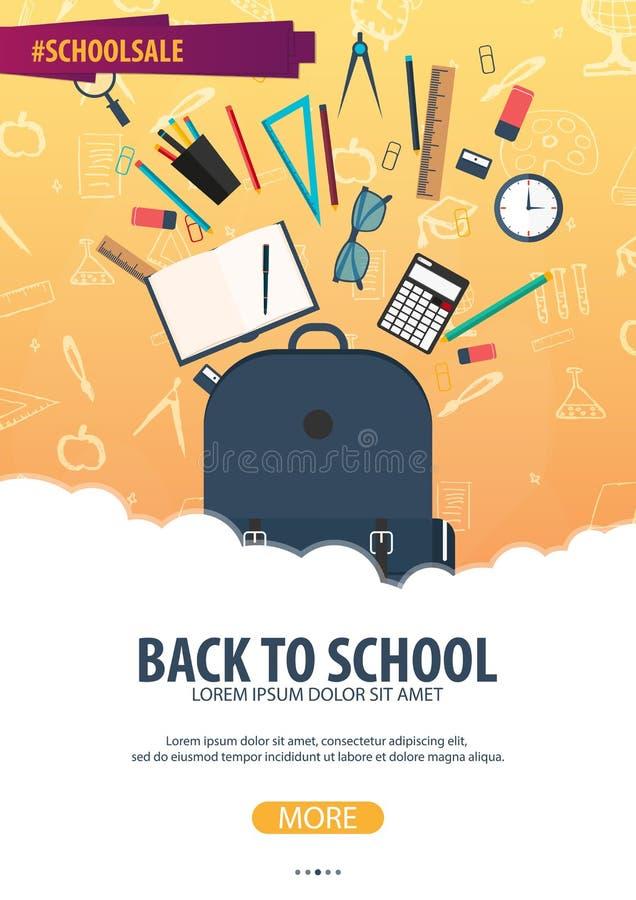 De volta ao fundo da escola (EPS+JPG) Bandeira da educação Ilustração do vetor ilustração royalty free