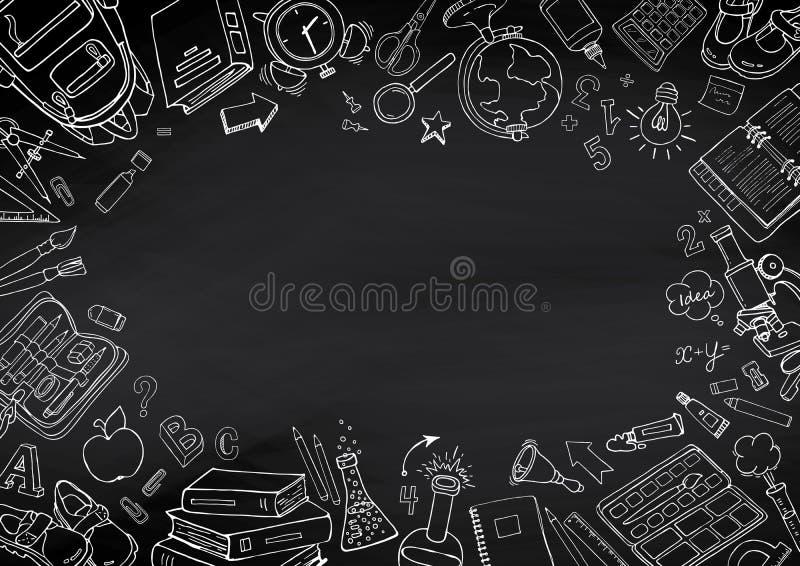 De volta ao fundo desenhado à mão do quadro-negro das garatujas da escola ilustração do vetor