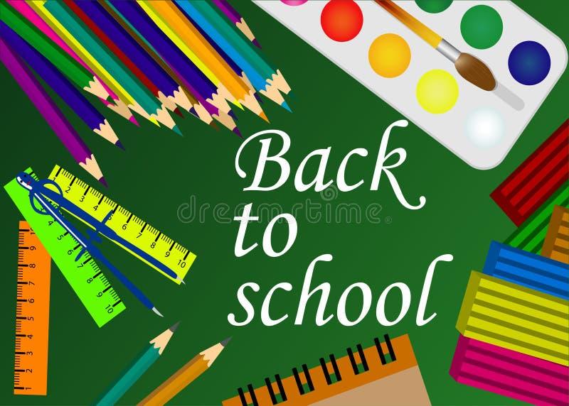 De volta ao fundo do verde da escola com lápis e ferramentas da escola ilustração stock