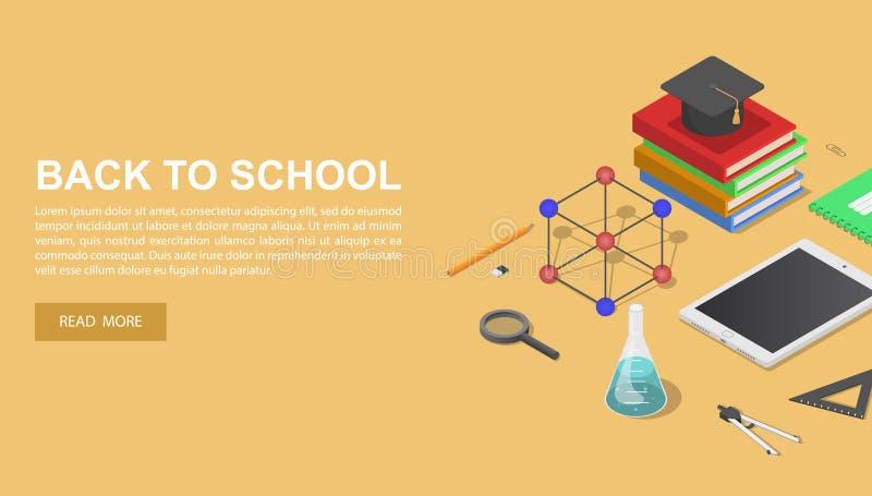 De volta ao fundo químico do conceito da escola, estilo isométrico ilustração do vetor