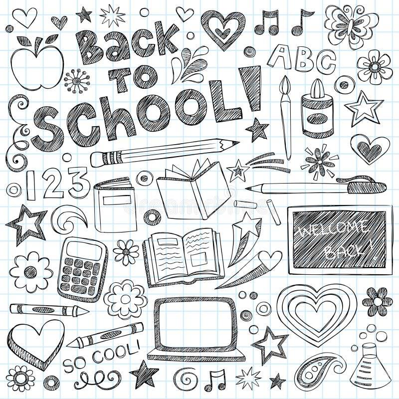 De volta ao jogo esboçado do vetor dos Doodles das fontes de escola ilustração stock