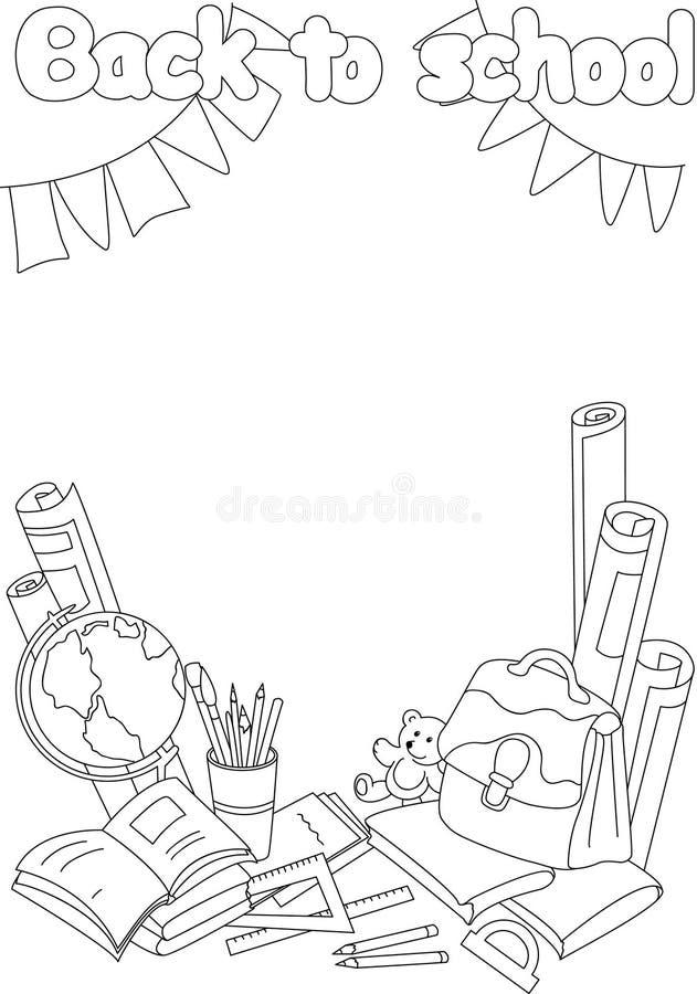 De volta ao livro para colorir da escola Formação acadêmica com livros, ilustração do vetor