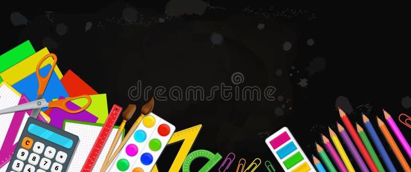 De volta ao molde da bandeira da educação escolar com fontes de escola coloridas como lápis, escovas de pintura, paleta de cores, ilustração do vetor
