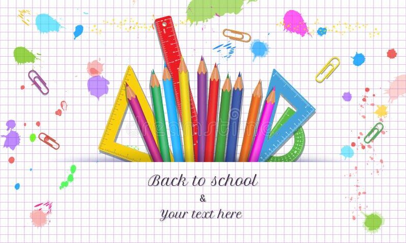 De volta ao molde da bandeira de escola com as fontes de escola coloridas realísticas isoladas no fundo branco abstrato com papel ilustração stock