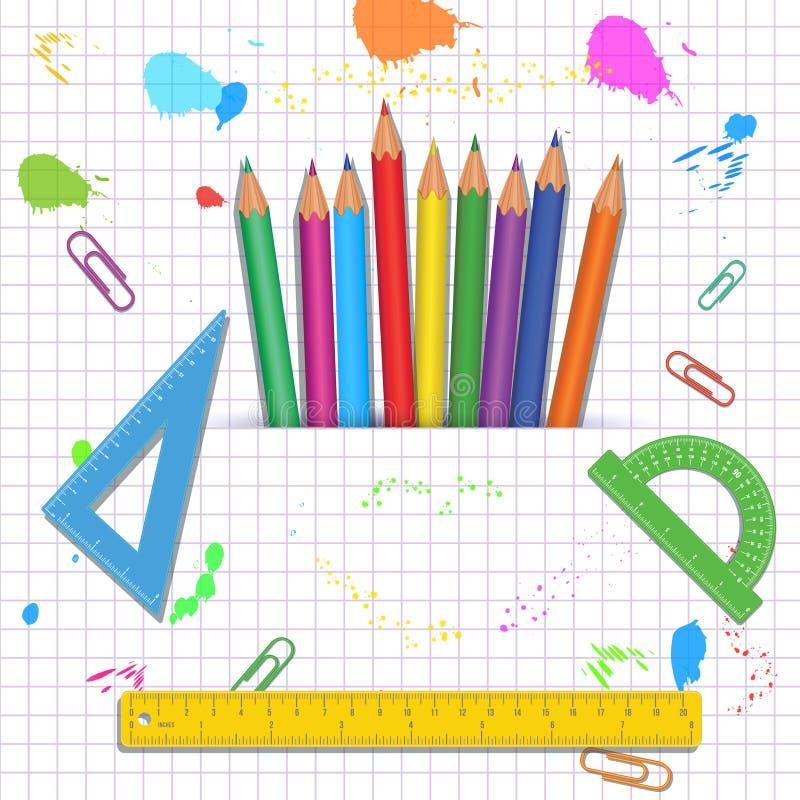 De volta ao molde da bandeira de escola com lápis coloridos, medida das réguas, prolongadores isolados no fundo branco abstrato c ilustração stock