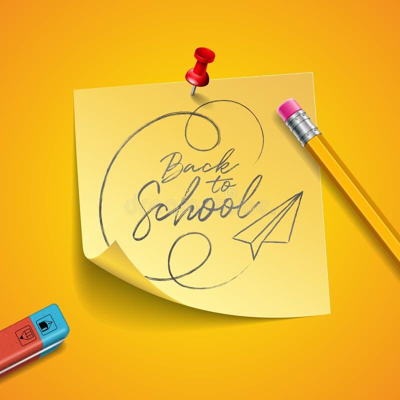 De volta ao projeto da escola com lápis da grafite, eliminador e notas pegajosas no fundo amarelo Ilustração do vetor com cargo ilustração royalty free