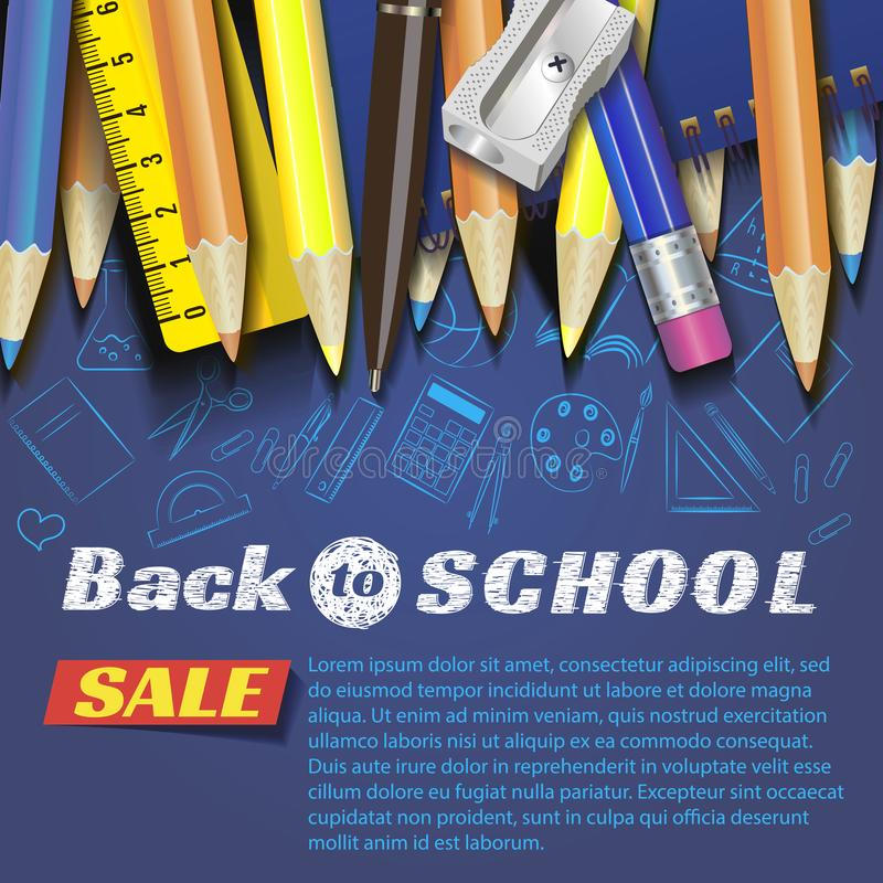 De volta ao projeto da escola no fundo vermelho com artigos e objetos da escola para a loja desconte a promoção fotografia de stock royalty free