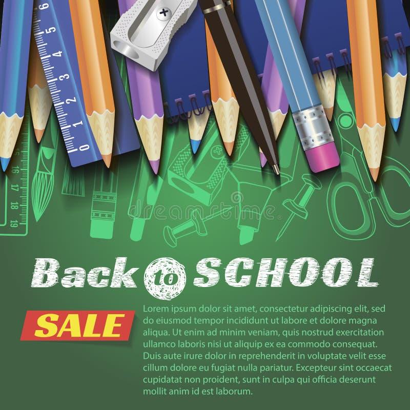 De volta ao projeto da escola no fundo vermelho com artigos e objetos da escola para a loja desconte a promoção fotos de stock royalty free