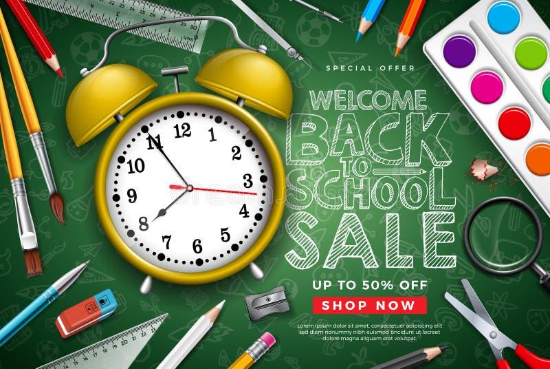 De volta ao projeto da venda da escola com despertador, o lápis colorido, a escova, as tesouras e a letra da tipografia no quadro ilustração do vetor