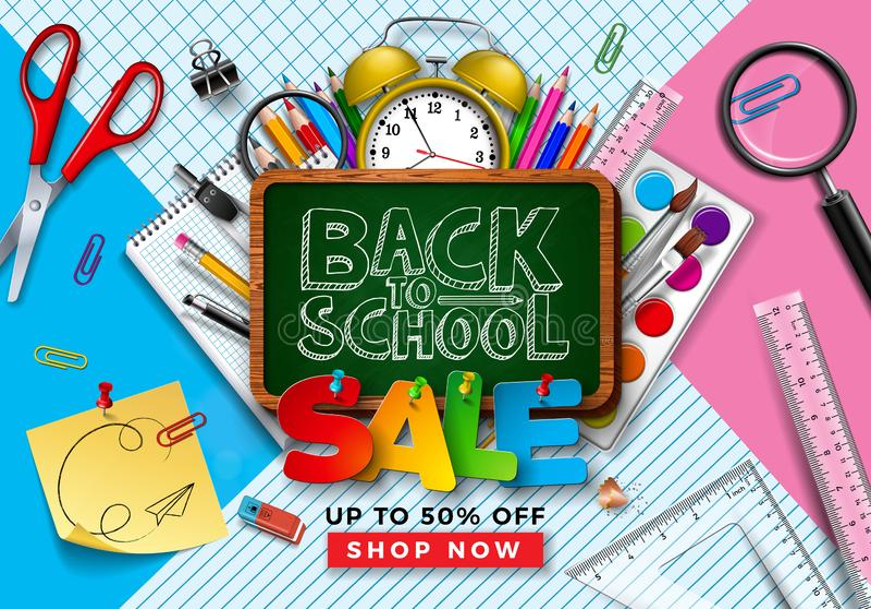 De volta ao projeto da venda da escola com lápis colorido, escova, quadro e outros artigos de aprendizagem na grade e na linha qu ilustração do vetor