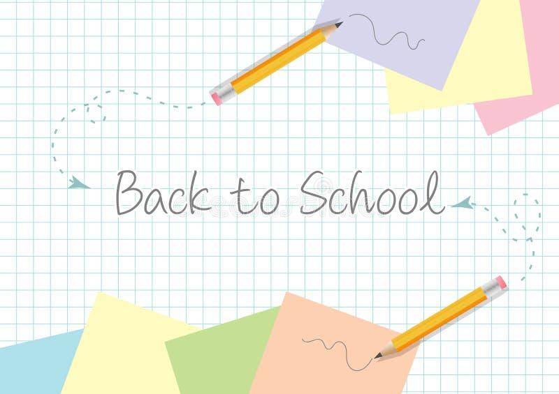 De volta ao projeto do molde do conceito da escola com garranchos dos lápis e papéis amarelos do post-it no copypaper ilustração royalty free