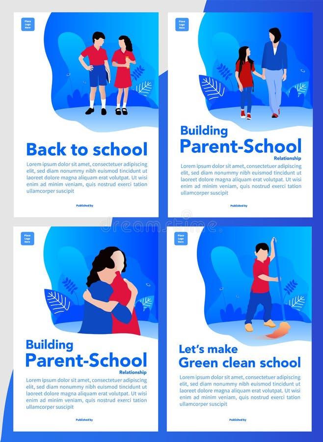 De volta ao projeto simples e fresco do relacionamento da escola e da pai-escola da construção para livros da tampa ou o livro em ilustração royalty free