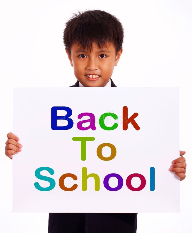De volta ao sinal da escola como o símbolo para a instrução imagens de stock