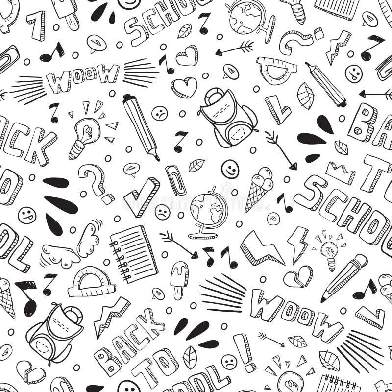 De volta ao teste padrão sem emenda do vetor engraçado da escola Fontes de escola preto e branco e elementos criativos isolados A ilustração do vetor