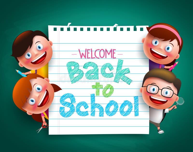 De volta ao texto colorido da escola escrito no papel com crianças engraçadas vector caráteres ilustração royalty free