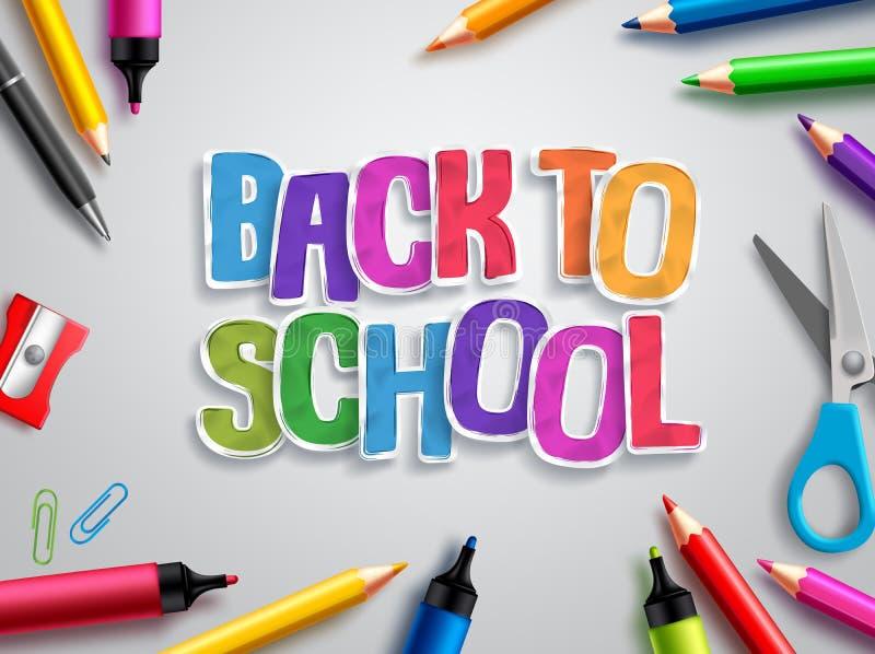 De volta ao vetor da escola o projeto com papel colorido cortou o texto, os elementos da educação e as fontes de escola ilustração royalty free