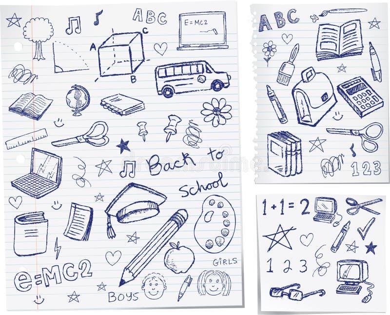 De volta aos doodles da escola ilustração stock