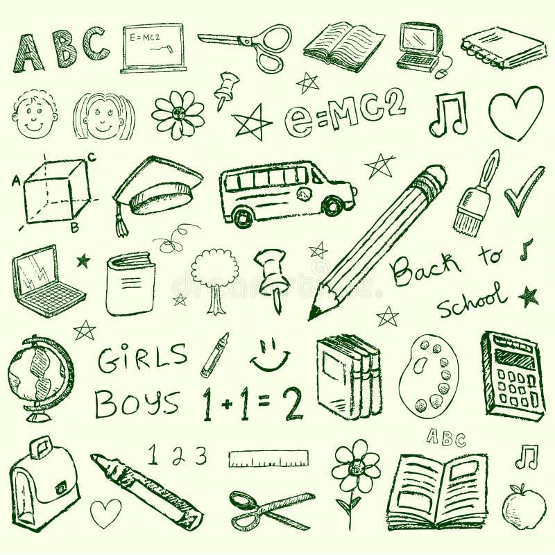 De volta aos doodles da escola ajustados ilustração do vetor