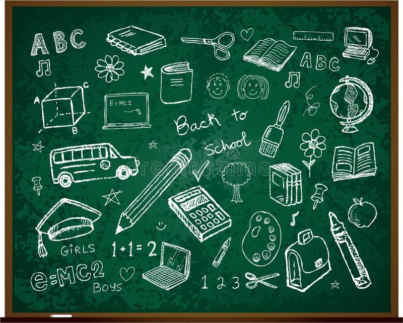 De volta aos doodles da escola a bordo ilustração royalty free